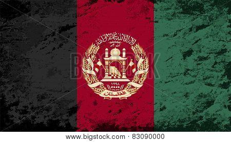 Afghanistan flag. Grunge background. Vector illustration