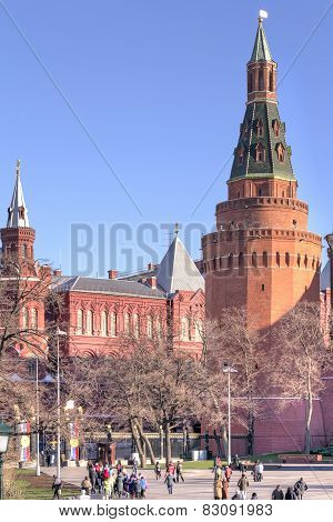 Moscow. Kremlin. Corner Arsenal Tower And The Alexander Garden