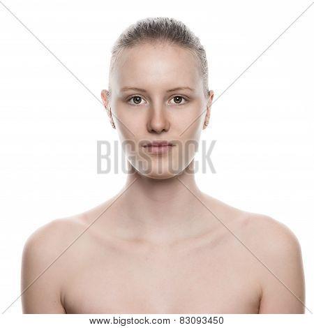 Close Up Portrait Of Bare Pretty Woman