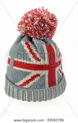 Knitted Wool Hat With Union Jack Flag Isolated On White