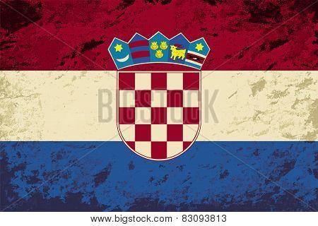 Croatian flag. Grunge background. Vector illustration
