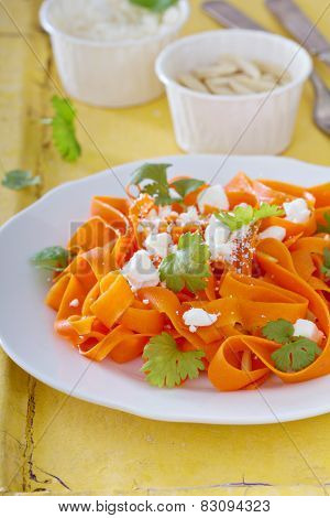 Carrot pasta salad with feta