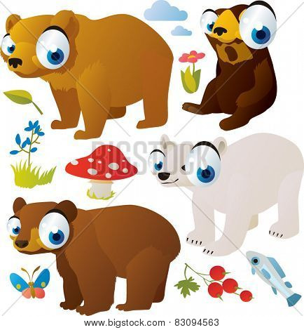 vector cartoon bears set: sunbear, brown bear, polar bear, grizzly bear