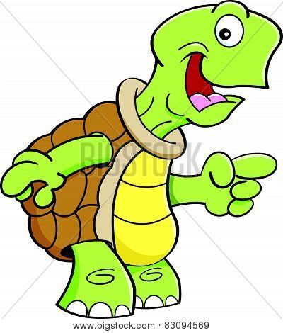 Cartoon happy turtle pointing.