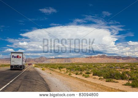 Typical Americal Highway In Desert In Utah.