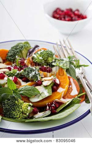 Salad with vegetables, pepperoni and pomergranate