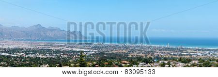 Panorama Of Gordons Bay And The Strand Near Cape Town