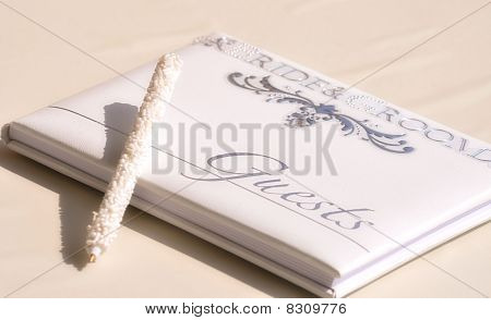 Wedding guest book on table