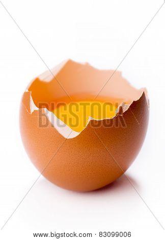 Broken Egg On White Background