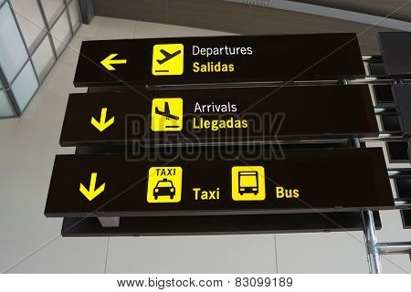 Signs Inside an International Airport