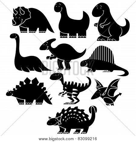 Vector Set Of Different Cute Cartoon Dinosaurs