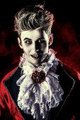 stock photo of dracula  - Bewitching handsome male vampire - JPG