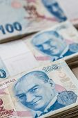 pic of turkish lira  - Bunch of Turkish Lira over white wooden background - JPG
