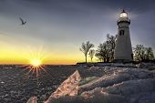 picture of marblehead  - The historic Marblehead Lighthouse in Northwest Ohio sits along the rocky shores of Lake Erie - JPG