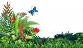 stock photo of flying-insect  - Illustration of butterflies flying in the garden - JPG