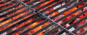 stock photo of braai  - Empty BBQ Grill and Glowing Hot Coals - JPG