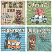 image of tiki  - Set of Retro Hawaiian banners  for your business - JPG