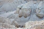image of israel people  - The caves of Qumran located on the edge of the Dead Sea in Israel - JPG