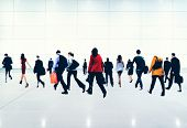 foto of commutator  - Commuter Buiness People Corporate Rush Hour Travel Concept - JPG