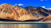 image of jammu kashmir  - Refelction of Mountains on Pangong tso  - JPG