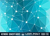 image of node  - Low Poly trangular network with nodes background for your futuristic flyer - JPG