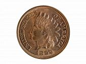 stock photo of copper coins  - United States of America Indian Head one cent coin isolated on white background - JPG