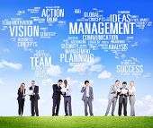 stock photo of role model  - Global Management Training Vision World Map Concept - JPG