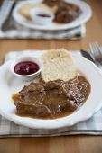 image of deer meat  - deer meat in wine sauce and home made dumplings - JPG