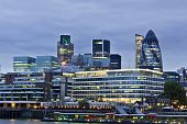 stock photo of willy  - London skyline seen from the River Thames at twilight - JPG