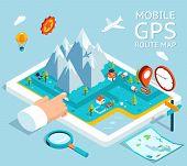 picture of gps  - Isometric mobile GPS navigator - JPG