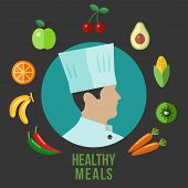 stock photo of chef cap  - Flat icons of healthy food around the silhouette chef isolated in a circle - JPG