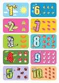 stock photo of montessori school  - Funny children illustration for counting 1 to 10 with cute animals - JPG