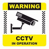foto of cctv  - CCTV in operation sign for safety and security - JPG