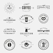 image of logo  - Coffee Retro Vintage Labels Logo design vector typography lettering templates.  Old style elements, business signs, logos, label, badges, stamps and symbols. Coffeeshop, tea, bakery theme. - JPG