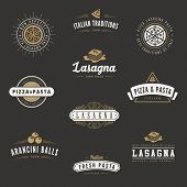 image of italian food  - Italian cuisine Retro Vintage Labels Logo design vector typography lettering templates.  Old style elements, business signs, logos, label, badges, stamps and symbols. Pizza, pasta, lasagna theme. - JPG