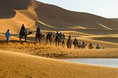 pic of caravan  - Caravan of tourists on camels riding to the desert passing the lake - JPG