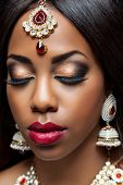 stock photo of indian wedding  - Exotic Indian bride dressed up for wedding ceremony - JPG