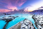 picture of arctic landscape  - the famous blue lagoon near Reykjavik - JPG