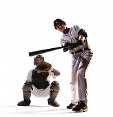stock photo of ball cap  - isolated on white professional baseball players in action - JPG