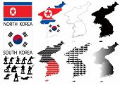 image of seoul south korea  - North and South Korea Vector maps and flags with war theme - JPG
