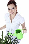 image of pinafore  - Beautiful Happy Woman Holding Watering Can - JPG