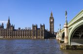 image of westminster bridge  - The beautiful view across the river Thames of the Houses of Parliament and Westminster Bridge in London. ** Note: Visible grain at 100%, best at smaller sizes - JPG