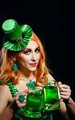 picture of leprechaun hat  - Red hair girl in Saint Patrick - JPG