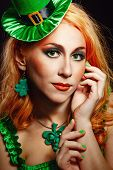 stock photo of leprechaun hat  - Red hair girl in Saint Patrick - JPG