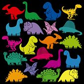 picture of prehistoric animal  - Vector Set Of Different Cute Cartoon Dinosaurs - JPG