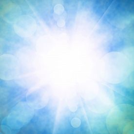 picture of divine  - Heavenly blue sky with bright sunshine and light beams - JPG