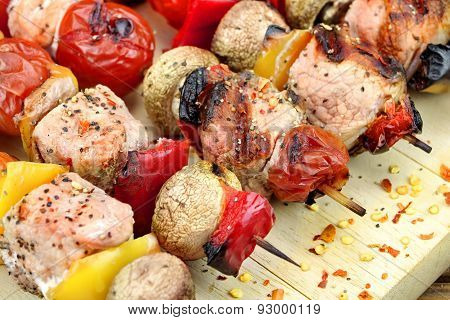 Mixed Meet, Mushrooms And  Vegetables Bbq Grilled Kebabs