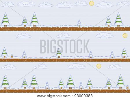 Pixel art winter day background