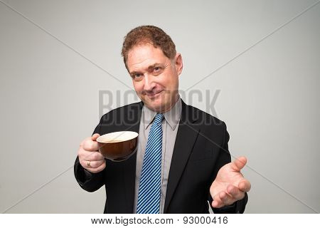Mature Manager With A Cup