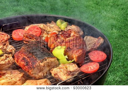 Mixed Meat And Vegetables On The Hot Bbq Grill